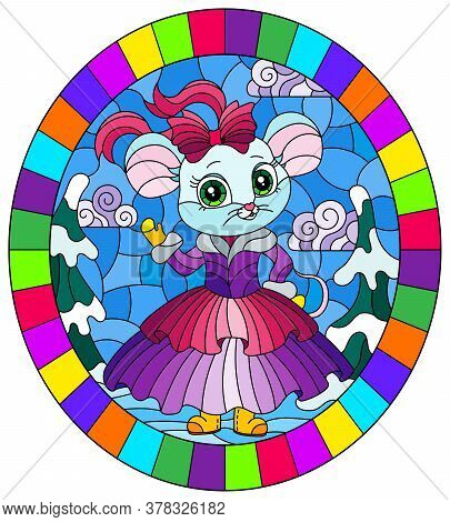 Illustration In A Stained Glass Style With A Cute Cartoon Mouse On The Background Of A Winter Landsc