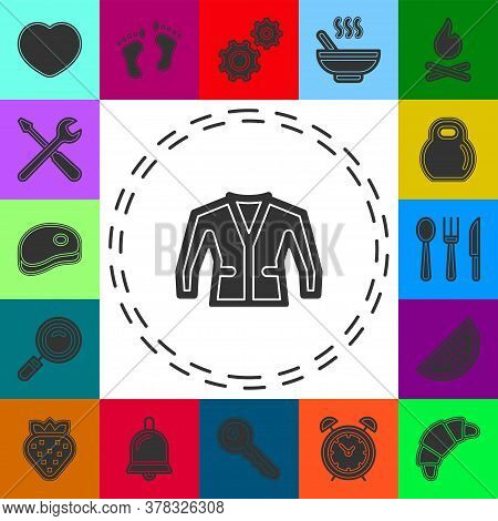Vector Jacket Illustration Isolated - Clothing Wear Fashion Icon. Flat Pictogram - Simple Icon