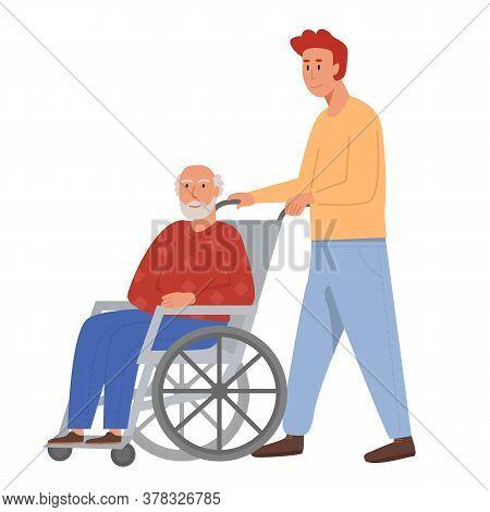 Son With Old Man On Wheelchair. Grandpa Sitting In Wheelchair. Retired Elderly Senior Age Man Disabl