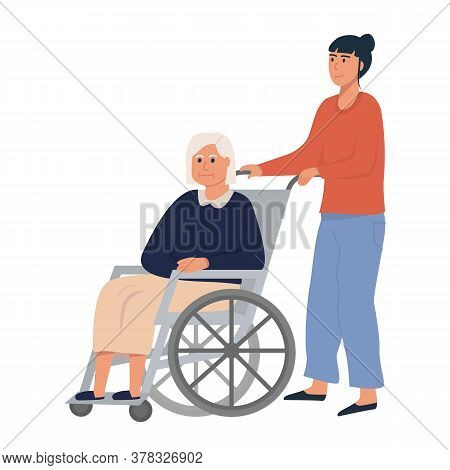 Daughter Or Female Relative With Old Woman On Wheelchair. Elderly Senior Sitting On Wheelchair. Reti