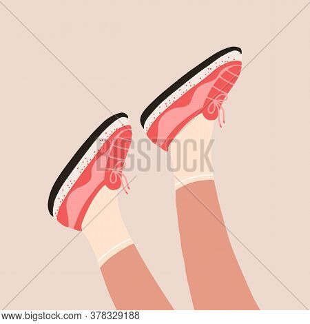 Female Legs In The Sneakers. Cool Bright Sport Footwear. Stylish Platform Shoes. Hand Drawn Colored