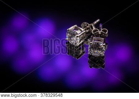 Beautiful Silver Earrings With Crystal On Clipping Path Background