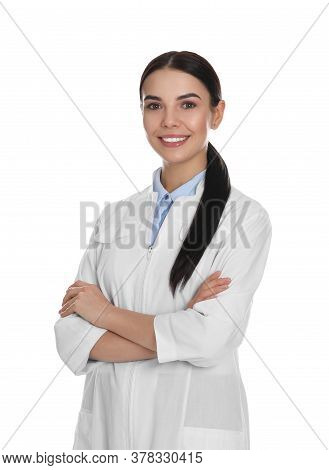 Happy Young Woman In Lab Coat On White Background