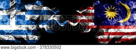 Greece Vs Malaysia, Malaysian Smoky Mystic Flags Placed Side By Side. Thick Colored Silky Abstract S