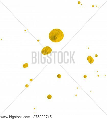 Splash Of Drops. Illustration Hand Drawn With Acrylic Paint. With Clipping Path