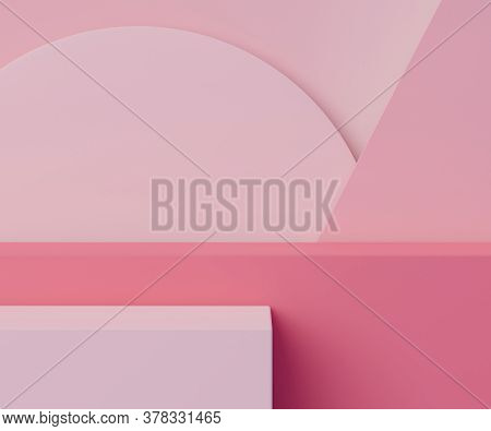 3d Geometric Form. Box Podium In Coral Pink Color. Fashion Show Stage,pedestal, Shopfront With Color