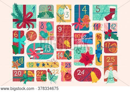 December Festive Advent Calendar Flat Vector Illustration