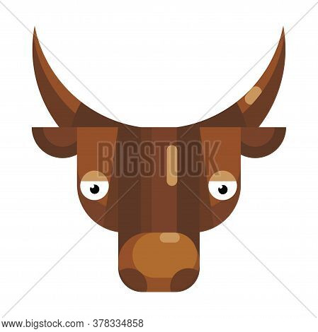 Serious Bull Face Emoji, Neutral Concerned Cow Icon Isolated Sign