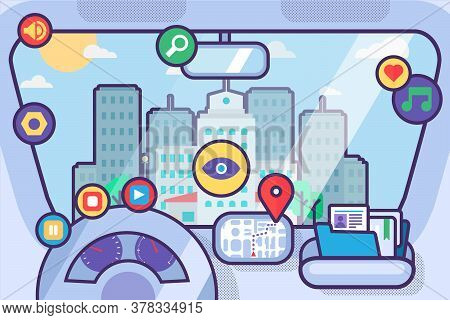 Car Interior With Navigation System And Gps Map