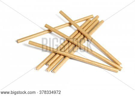 Paper Drinking Straws on White Background