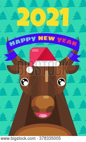 Happy New Year 2021. Chinese Zodiac Greeting Card