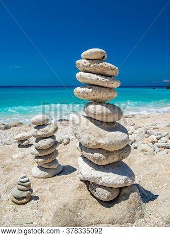 Zen Balanced stones at the beach