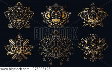 Lotus Flower With Geometric Ornament Linear Illustrations Set