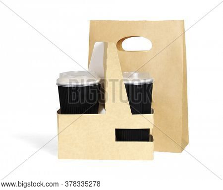 Takeaway Paper Cups and Bag on White Background