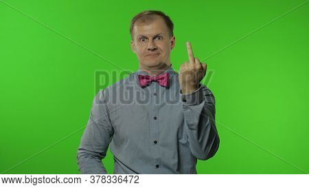 Funny Man Showing Middle Finger, Demonstrating Protest Hate, Impolite Rude Gesture Of Disrespect, Ag