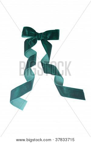 Green Velvet Ribbon Isolated On White