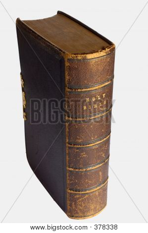 an old leather bible, well used, scuffed and worn. clipping path included. poster
