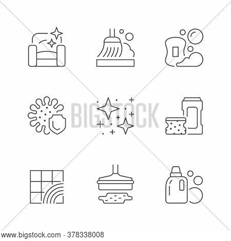 Set Line Icons Of Cleaning Isolated On White. Furniture Cleaning, Broom, Soap With Foam And Bubbles,
