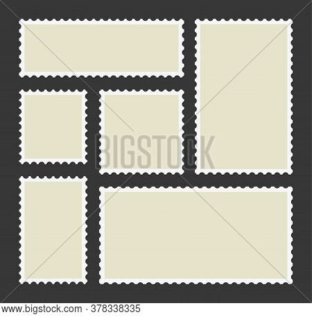 Stamp Of Post. Postcard Template. Shape With Frame Of Postage. Blank Postal Card With Border. Vintag