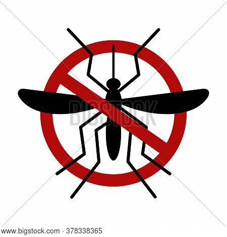 Mosquito Warning Prohibited Sign. Stop And Control Mosquito. Anti Mosquitoes, Insect Control Vector