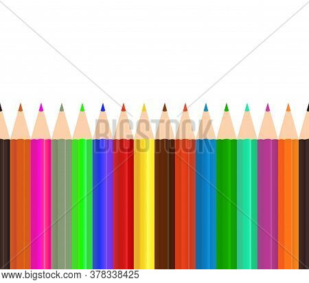 Color Pencil. Pencil Seamless Background. Crayon For School. Set Rainbow Colour Wood Pencils In Row.