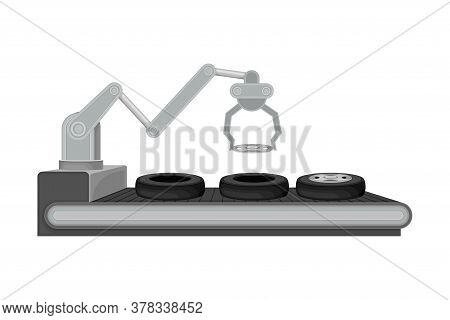 Robotic Arm And Tyres On Conveyor Belt As Car Production Vector Illustration