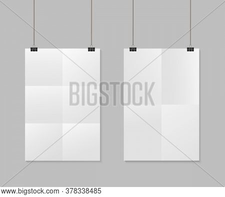Paper Sheet With Fold. White Poster With Clip. Mockup A4 With Shadow. Blank Vertical Mock With Clamp