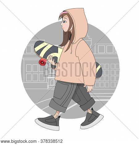 Cute Hipster Girl In Sweatshirt, Pants, Sneakers With A Skateboard Walking Down The Street. Cartoon