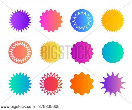 Price Sticker. Promo Badge Starburst. Shape Of Star For Callout, Label. Round Icons For Sale. Circle