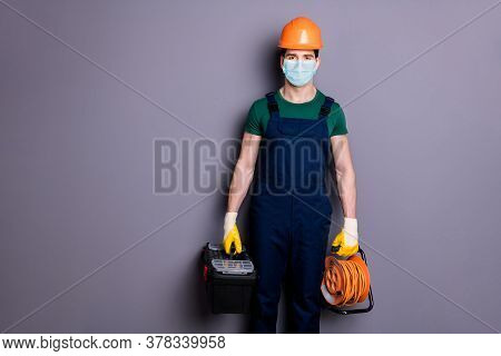 Portrait Of His He Attractive Healthy Guy Workman Wearing Safety Gauze Protective Mask Contagious Vi