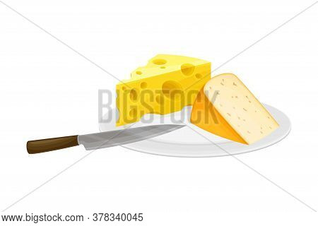 Cheese Slabs Rested On Plate As Dairy Product Vector Illustration