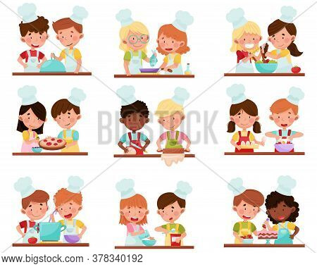 Cute Girl And Boy Chef Characters Wearing Apron And Hat Baking And Making Salad Vector Illustration
