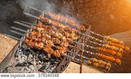 Barbecue Grilled Pork Kebabs Meat Lamb Kebab Marinated Barbecue Meat Shashlik Shish Kebab Outdoors P