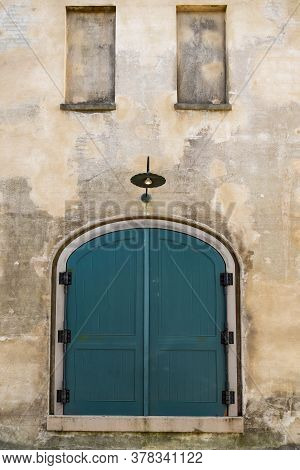 Door And Front View Of Ancient House In Charleston City