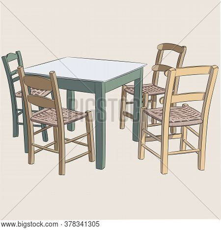 Green Wooden Dining Table And Four Chairs.