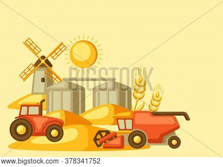 Harvesting Background. Combine Harvester, Tractor And Granary On Wheat Field. Agricultural Illustrat