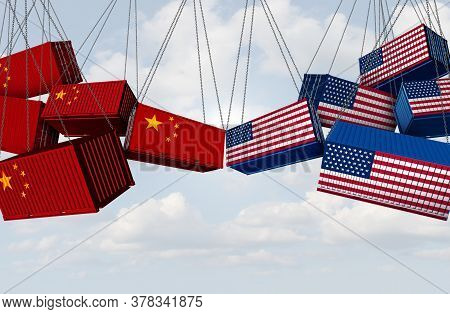 Usa China Trade War And American Tariffs As Opposing Cargo Freight Containers In Conflict As An Econ
