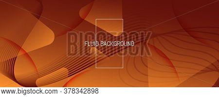 Wave Fluid Flow. Yellow Geometric Landing Page. 3d Abstract Shape. Technology Brochure. Orange Fluid