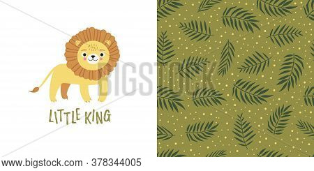 Seamless Kid Pattern And Illustration With Lion And Leaves. Cute Pajama Design.