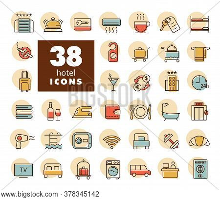 Hotel Vector Flat Icon Set. Graph Symbol For Travel And Tourism Web Site And Apps Design, Logo, App,