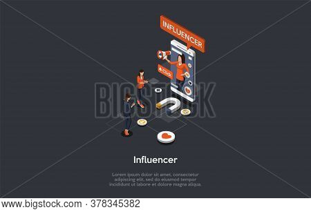 Concept Of Promotion In Social Media And Marketing Loyalty Strategies. Business People Influence, In