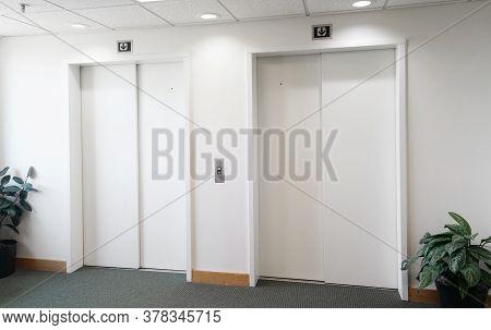 Elevators With Door Closed Inside The Office Building