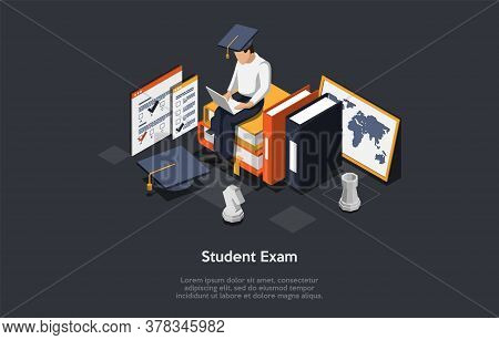 Online Exam, Questionnaire Form Concept. Student In Uniform And Academic Hat Sitting On Stacks Of Bo