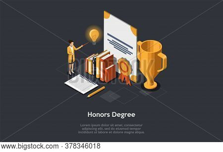 Concept Of Honors Degree. Woman University Or School Teacher With Pointer Stands Near Template Of Ho