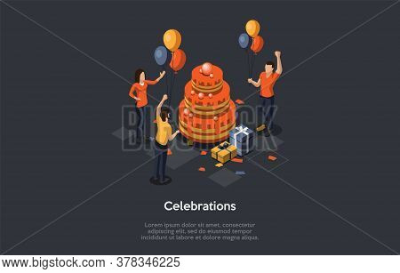 Concept Of Birthday Celebration Ceremony. Happy Male And Female Characters Dancing On Birthday Party