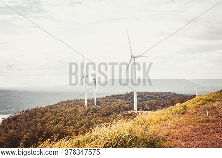 Panorama View Of Wind Turbine Electrical Energy Plant On Khao Yai Thiang, Thailand Natural Landscape