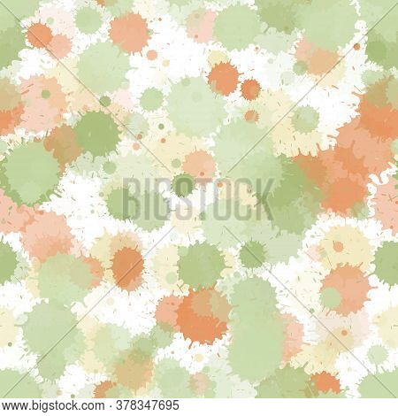 Paint Transparent Stains Vector Seamless Grunge Background. Random Ink Splatter, Spray Blots, Mud Sp