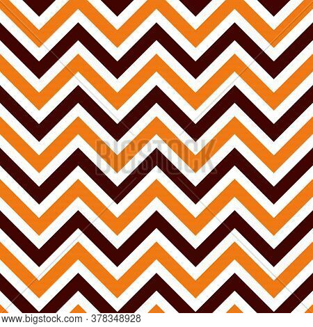 Halloween Seamless Zigzag Pattern, Vector Illustration. Chevron Zigzag Pattern With Colorful Lines O