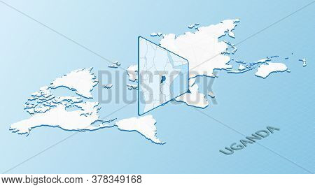 World Map In Isometric Style With Detailed Map Of Uganda. Light Blue Uganda Map With Abstract World