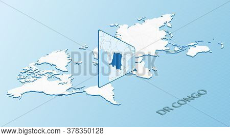 World Map In Isometric Style With Detailed Map Of Dr Congo. Light Blue Dr Congo Map With Abstract Wo